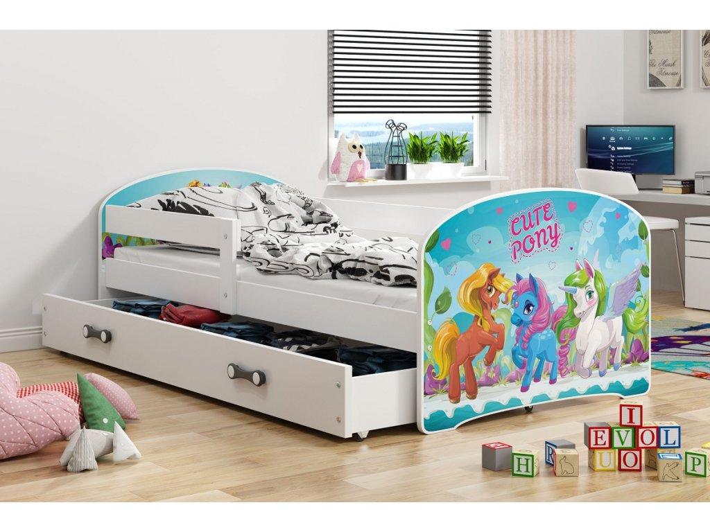 BMS group Detská posteľ Luki biela FARBA: Biela, OBRÁZOK: Pony, PREVEDENIE: posteľ s úložným priestorom