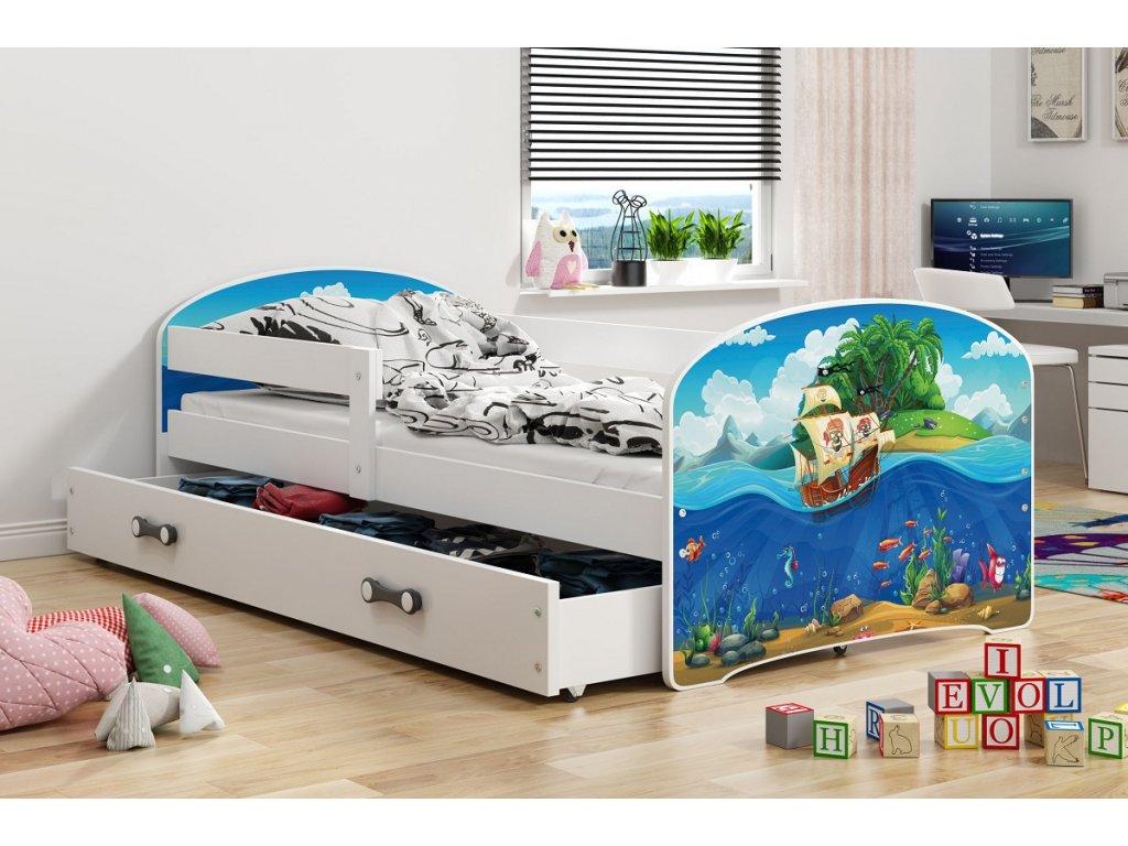 BMS group Detská posteľ Luki biela FARBA: Biela, OBRÁZOK: More, PREVEDENIE: posteľ s úložným priestorom