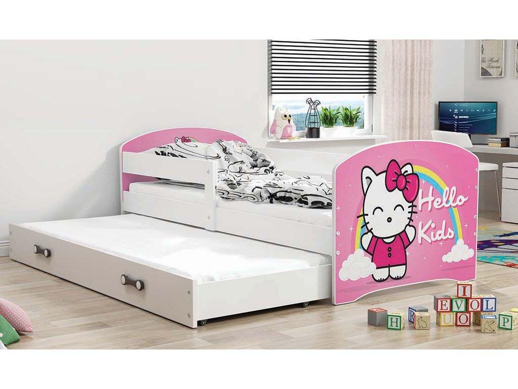 BMS group Detská posteľ Luki biela FARBA: Biela, OBRÁZOK: Hello Kids, PREVEDENIE: posteľ s prístelkou