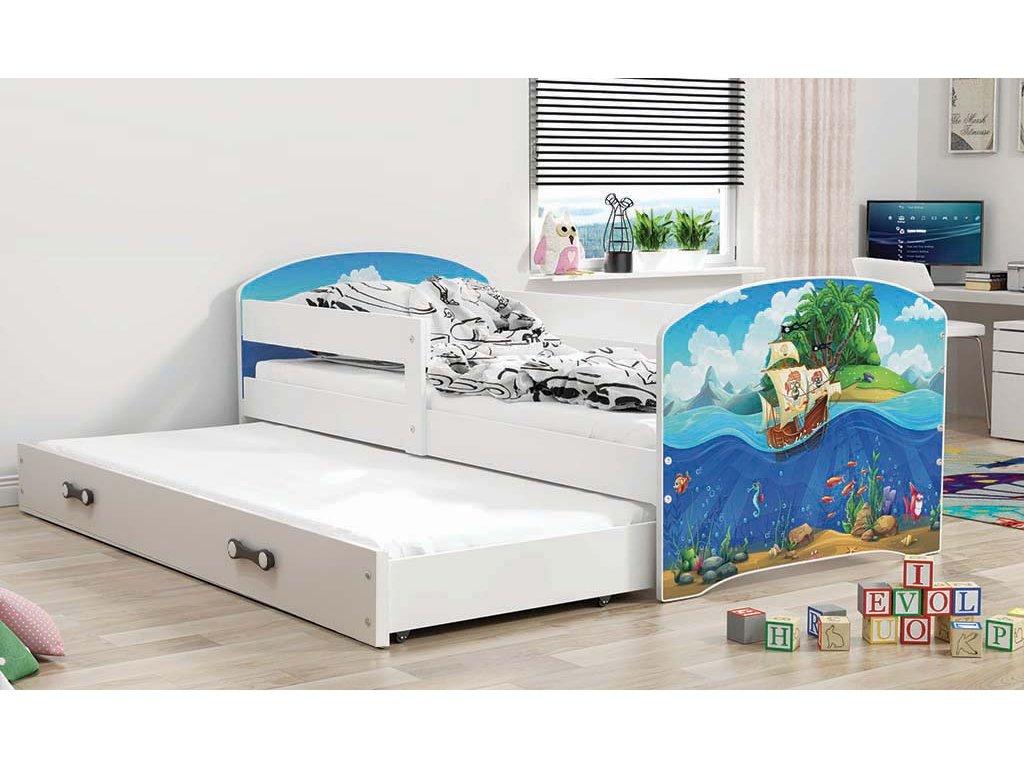 BMS group Detská posteľ Luki biela FARBA: Biela, OBRÁZOK: More, PREVEDENIE: posteľ s prístelkou