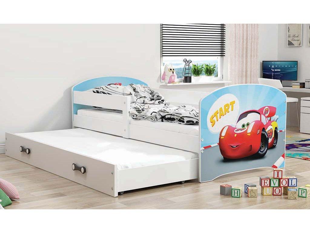 BMS group Detská posteľ Luki biela FARBA: Biela, OBRÁZOK: Auto, PREVEDENIE: posteľ s prístelkou