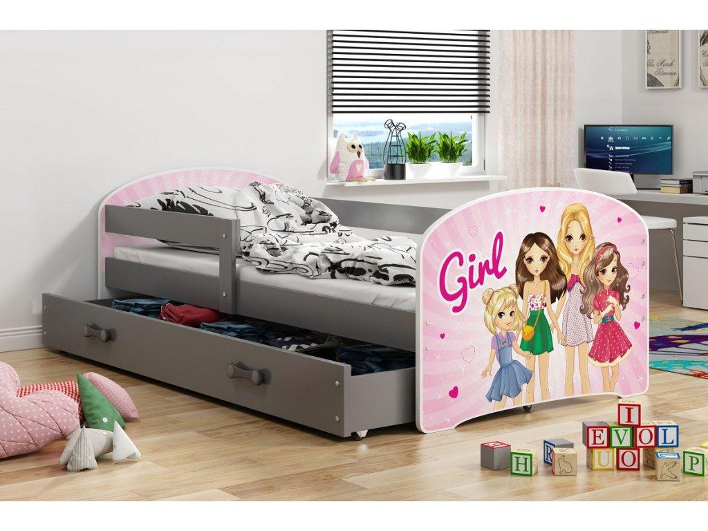BMS group Detská posteľ Luki grafit FARBA: Grafit, OBRÁZOK: Girl, PREVEDENIE: posteľ s úložným priestorom