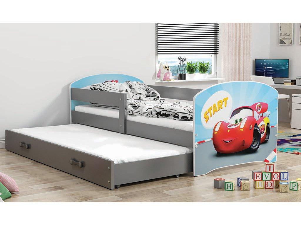 BMS group Detská posteľ Luki grafit FARBA: Grafit, OBRÁZOK: Auto, PREVEDENIE: posteľ s prístelkou