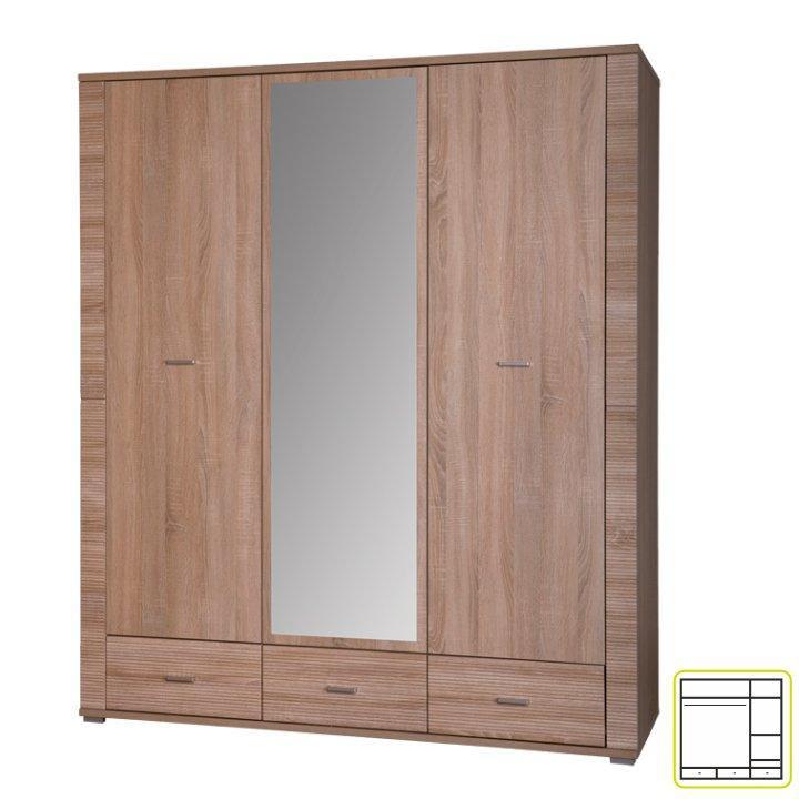 Tempo Kondela Skriňa so zrkadlom typ 2, dub sonoma, GRAND