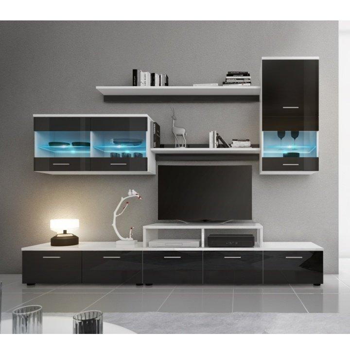 Tempo Kondela Obývacia stena, LED s osvetlením, biela/čierna extra vysoký lesk HG, LEO