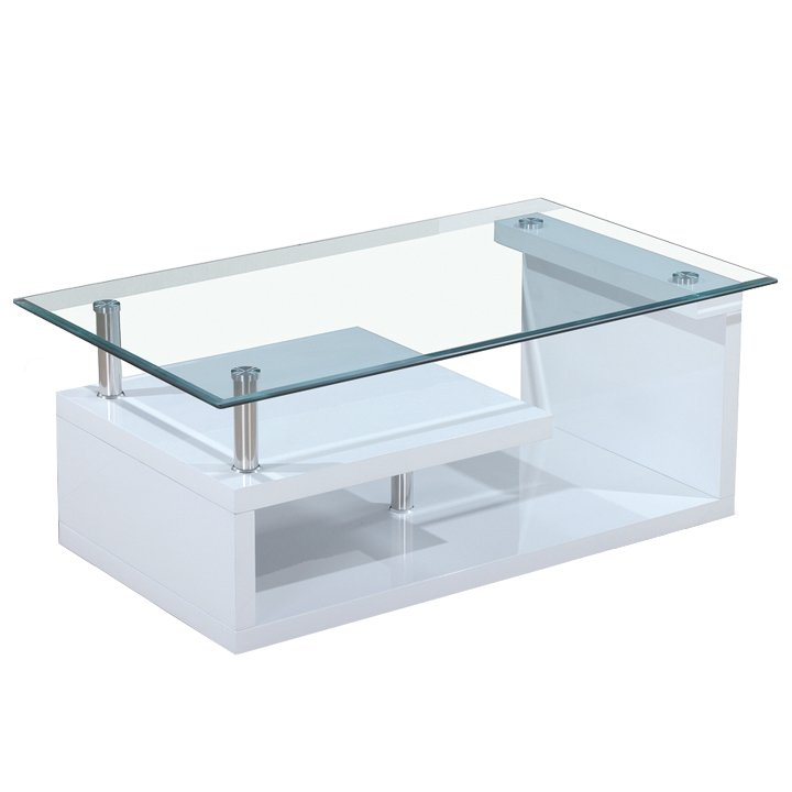 Tempo Kondela Konferenčný stolík, sklo/biela extra vysoký lesk HG, JULIEN