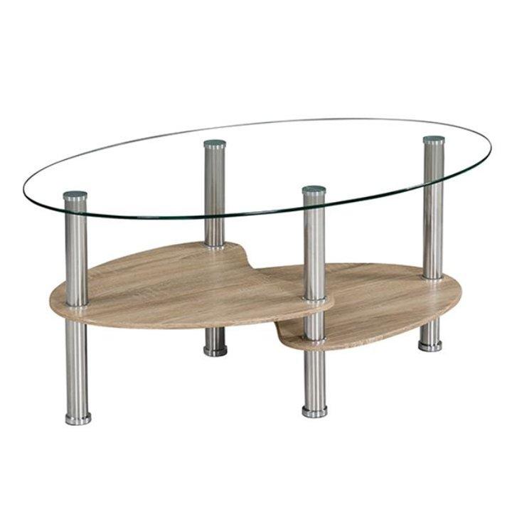 Tempo Kondela Konferenčný stolík, oceľ/číre sklo/dub sonoma, PANTY NEW
