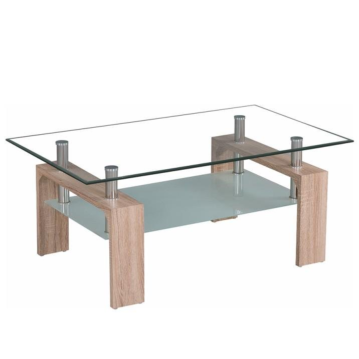 Tempo Kondela Konferenčný stolík, sklo/dub sonoma, LIBOR NEW