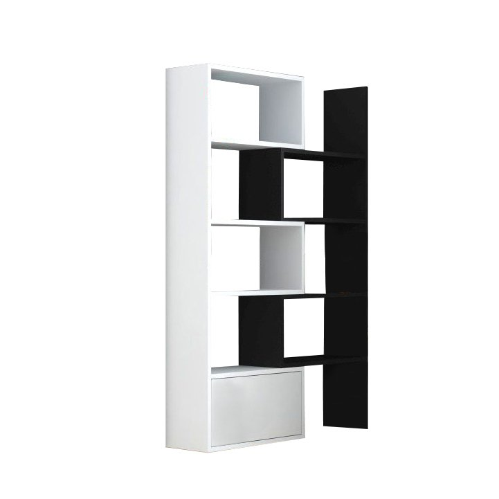 Tempo Kondela Regál, biela/čierna, 74x187,5, ASTA
