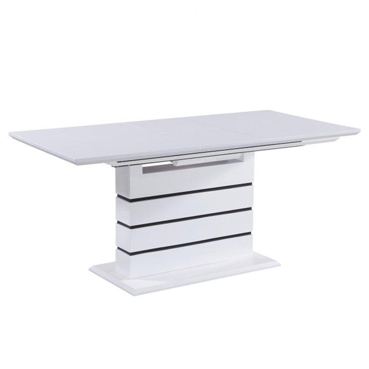 Tempo Kondela Jedálenský rozkladací stôl, biela s vysokým leskom HG, MEDAN
