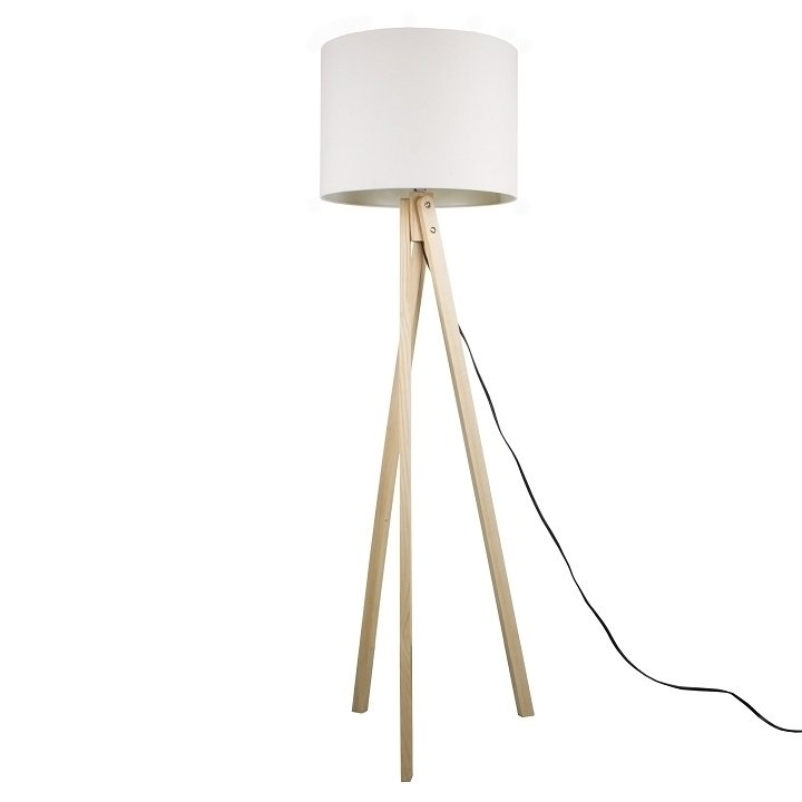 Tempo Kondela Stojacia lampa, biela/prírodné drevo, LILA Typ 6