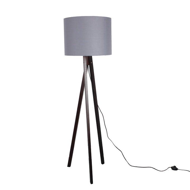 Tempo Kondela Stojacia lampa, sivá/drevo čierne, LILA Typ 10 LS6026