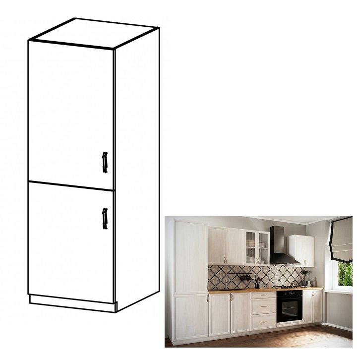 Tempo Kondela Kuchynská skrinka na vstavanú chladničku D60ZL, ľavá, biela/sosna Andersen, SICILIA