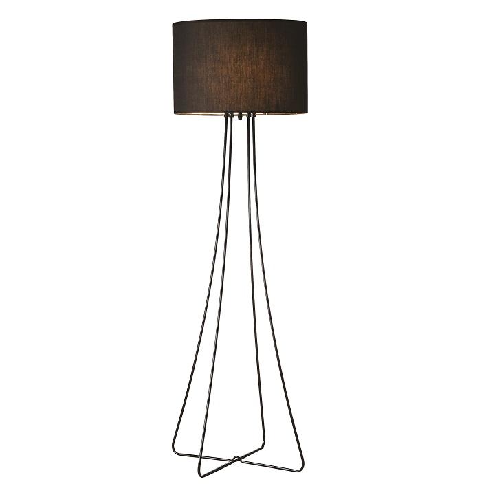 Tempo Kondela Stojacia lampa, čierny kov/látka, CINDA Typ 12 F4813