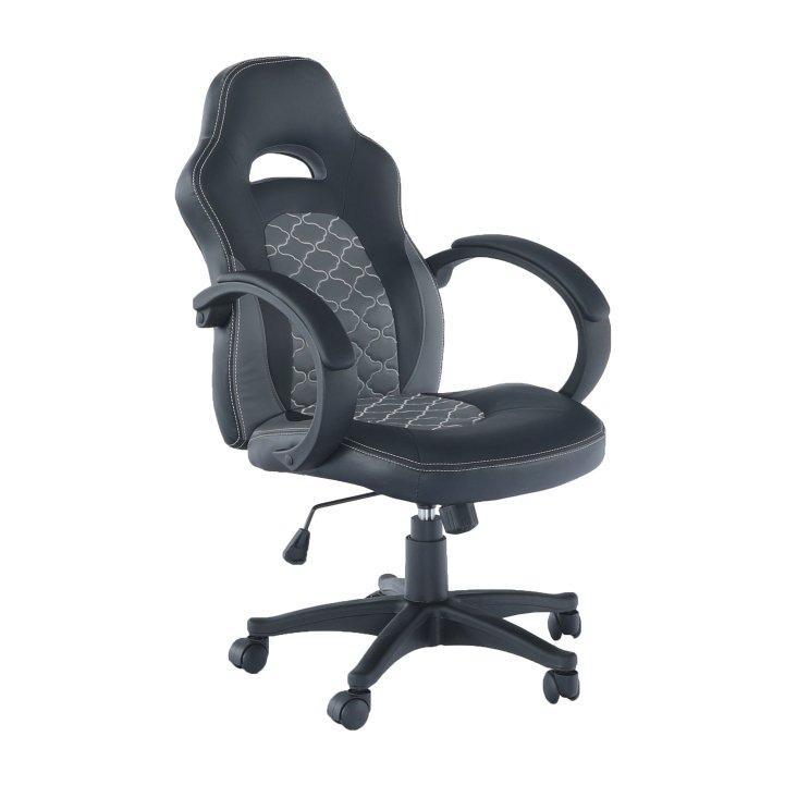 Tempo Kondela Kancelárske kreslo, ekokoža čierna/sivá, NELSON