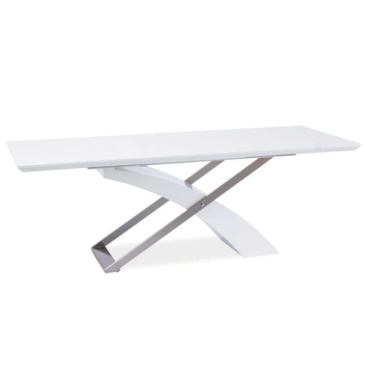 Tempo Kondela Jedálenský stôl, rozkladací, biela extra vysoký lesk/kov, KROS