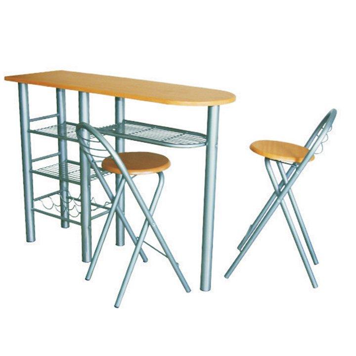Tempo Kondela Komplet barový stôl + 2 stoličky, buk, BOXER