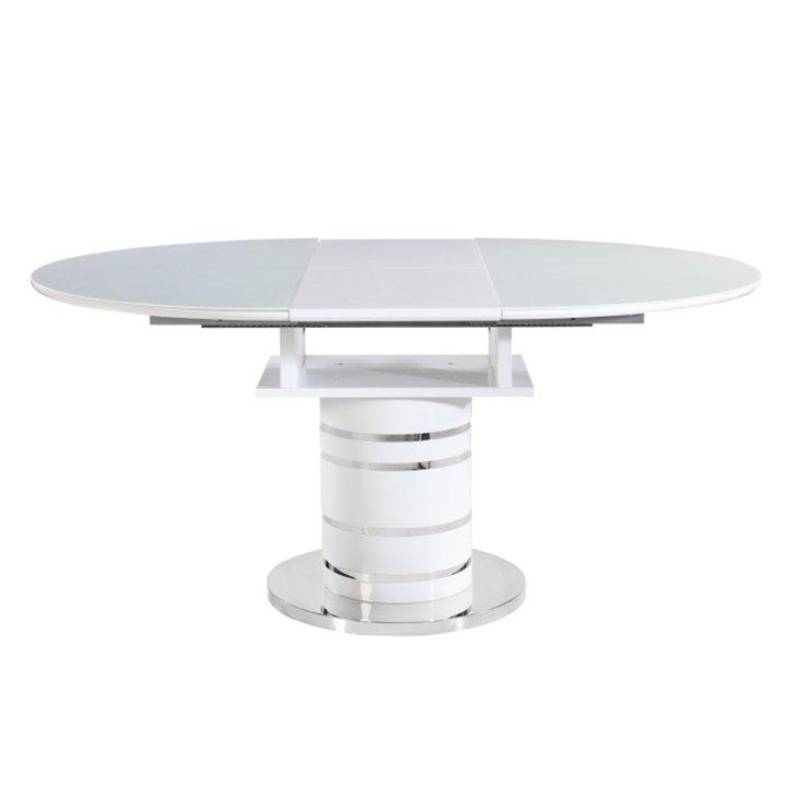 Tempo Kondela Jedálenský stôl rozkladací, biela vysoký lesk HG, ZAMON
