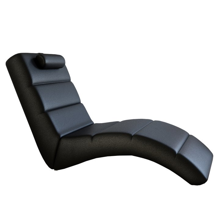 Tempo Kondela Relaxačné kreslo, čierna ekokoža, LONG