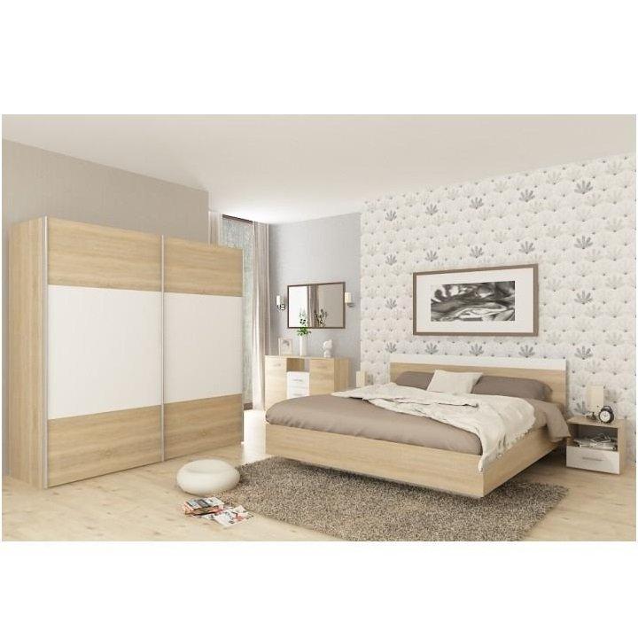 Tempo Kondela Spálňový komplet (posteľ 160x200 cm), dub sonoma/biela, GABRIELA