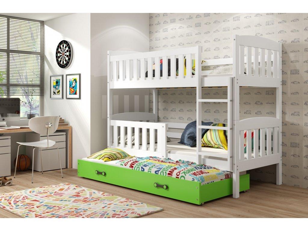 BMS group Detská poschodová posteľ KUBUŠ s prístelkou, 190 FARBA: Biela, DOPLNKOVÁ FARBA: Zelená