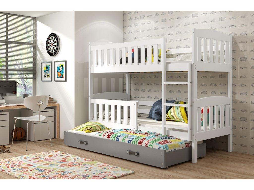 BMS group Detská poschodová posteľ KUBUŠ s prístelkou, 190 FARBA: Biela, DOPLNKOVÁ FARBA: Grafit