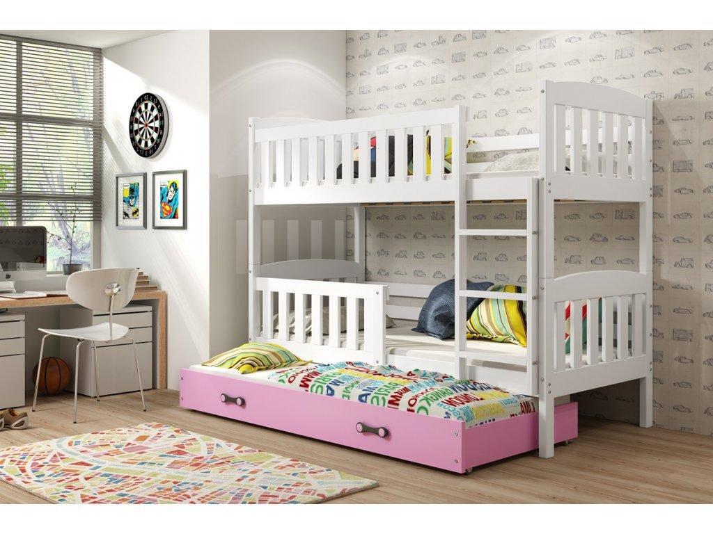 BMS group Detská poschodová posteľ KUBUŠ s prístelkou, 190 FARBA: Biela, DOPLNKOVÁ FARBA: Ružová