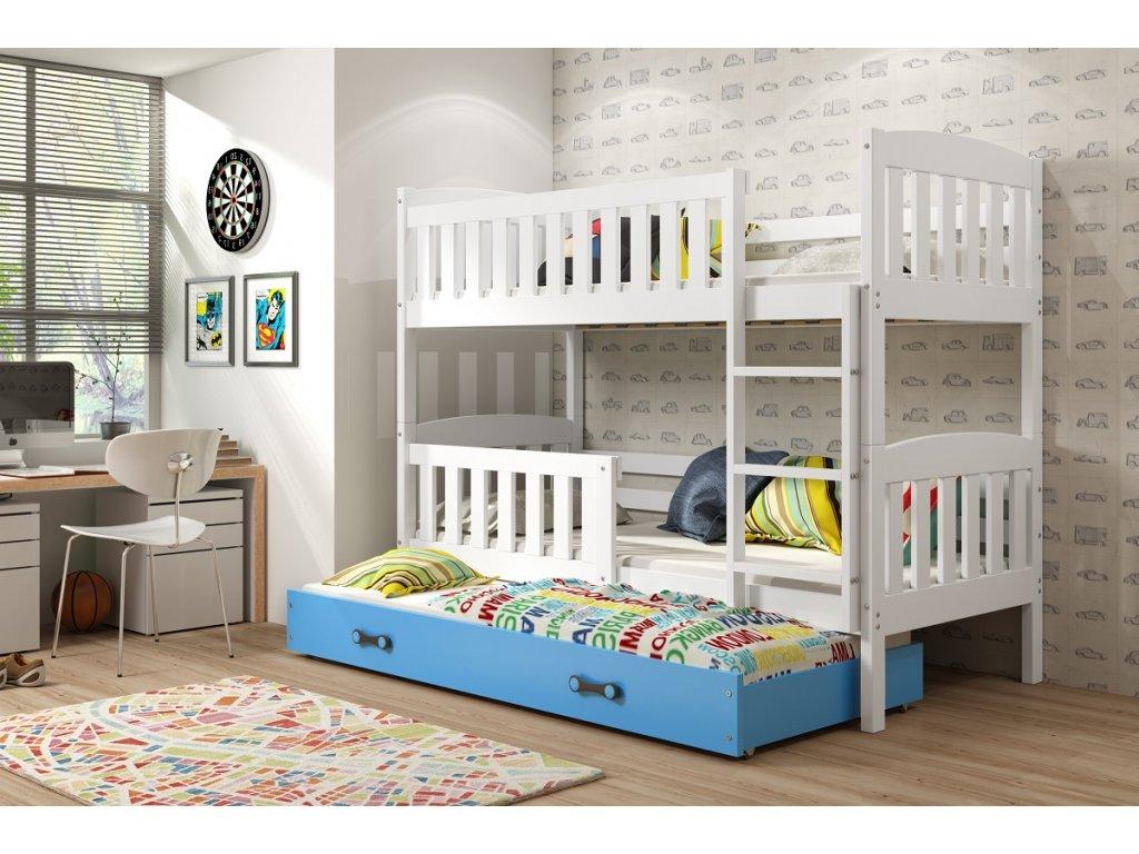 BMS group Detská poschodová posteľ KUBUŠ s prístelkou, 190 FARBA: Biela, DOPLNKOVÁ FARBA: Modrá