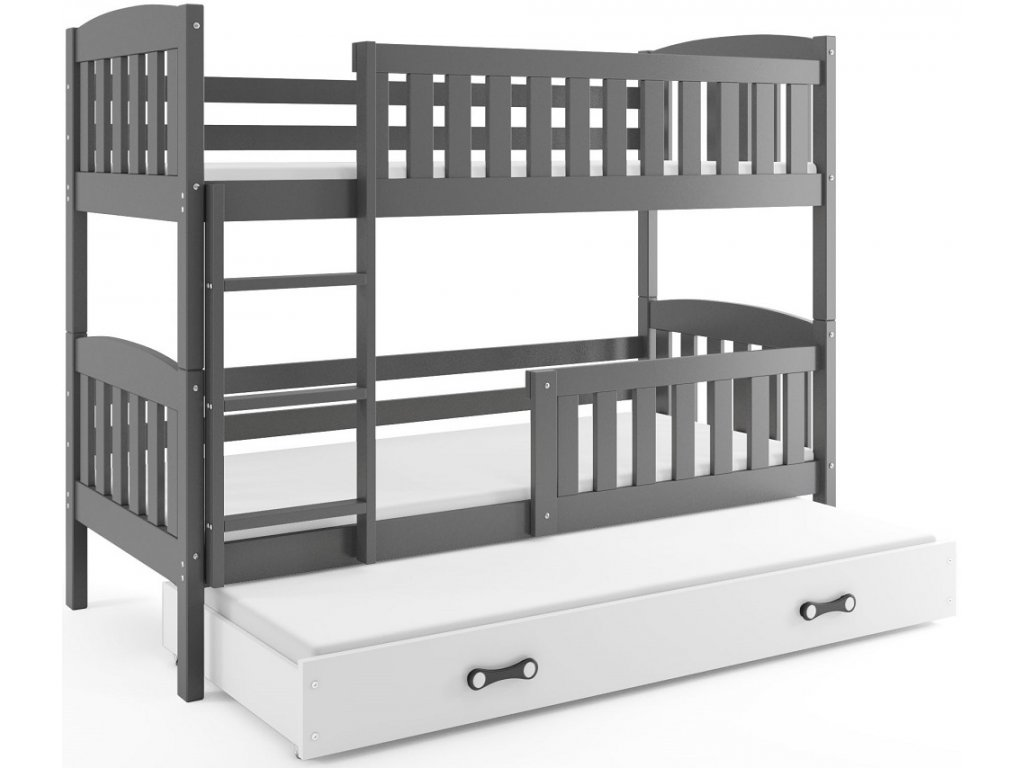 BMS group Detská poschodová posteľ KUBUŠ s prístelkou, 190 FARBA: Grafit, DOPLNKOVÁ FARBA: Biela