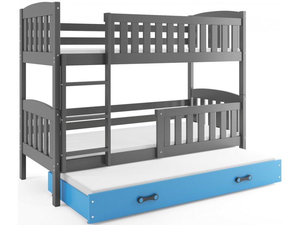 BMS group Detská poschodová posteľ KUBUŠ s prístelkou, 190 FARBA: Grafit, DOPLNKOVÁ FARBA: Modrá