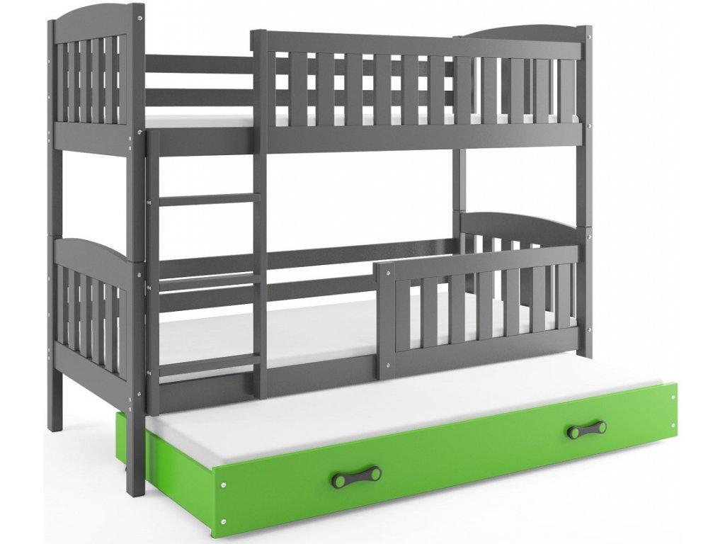BMS group Detská poschodová posteľ KUBUŠ s prístelkou, 190 FARBA: Grafit, DOPLNKOVÁ FARBA: Zelená
