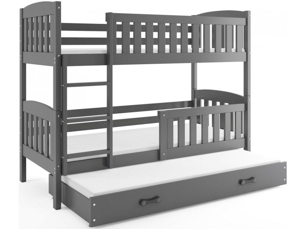 BMS group Detská poschodová posteľ KUBUŠ s prístelkou, 190 FARBA: Grafit, DOPLNKOVÁ FARBA: Grafit