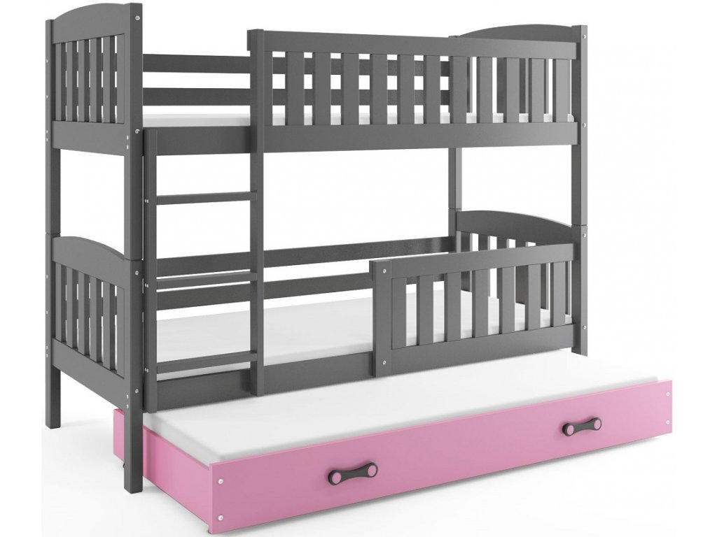 BMS group Detská poschodová posteľ KUBUŠ s prístelkou, 190 FARBA: Grafit, DOPLNKOVÁ FARBA: Ružová