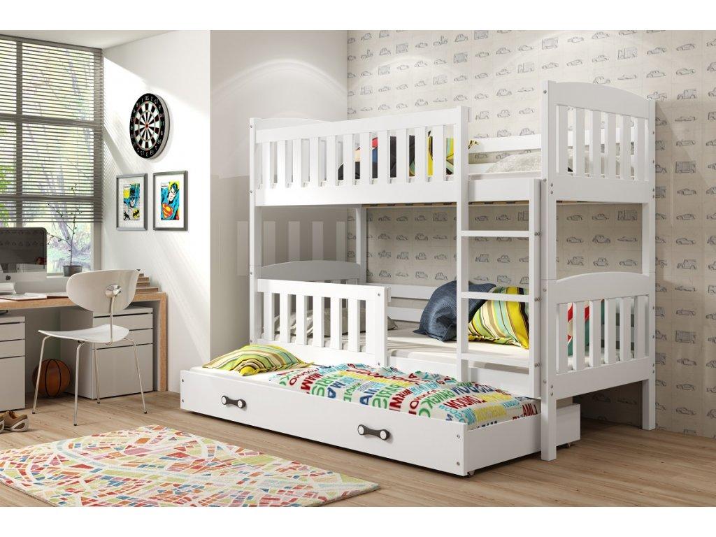 BMS group Detská poschodová posteľ KUBUŠ s prístelkou, 190 FARBA: Biela, DOPLNKOVÁ FARBA: Biela