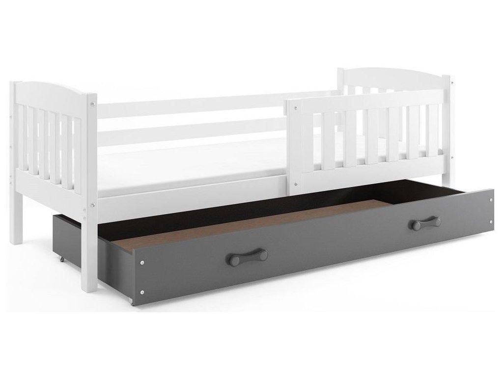 BMS group Detská posteľ KUBUŠ, 160 FARBA: Biela, DOPLNKOVÁ FARBA: Grafit