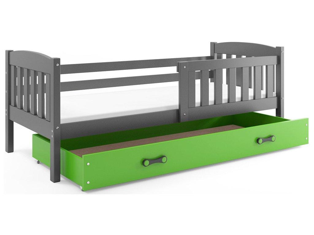 BMS group Detská posteľ KUBUŠ, 160 FARBA: Grafit, DOPLNKOVÁ FARBA: Zelená