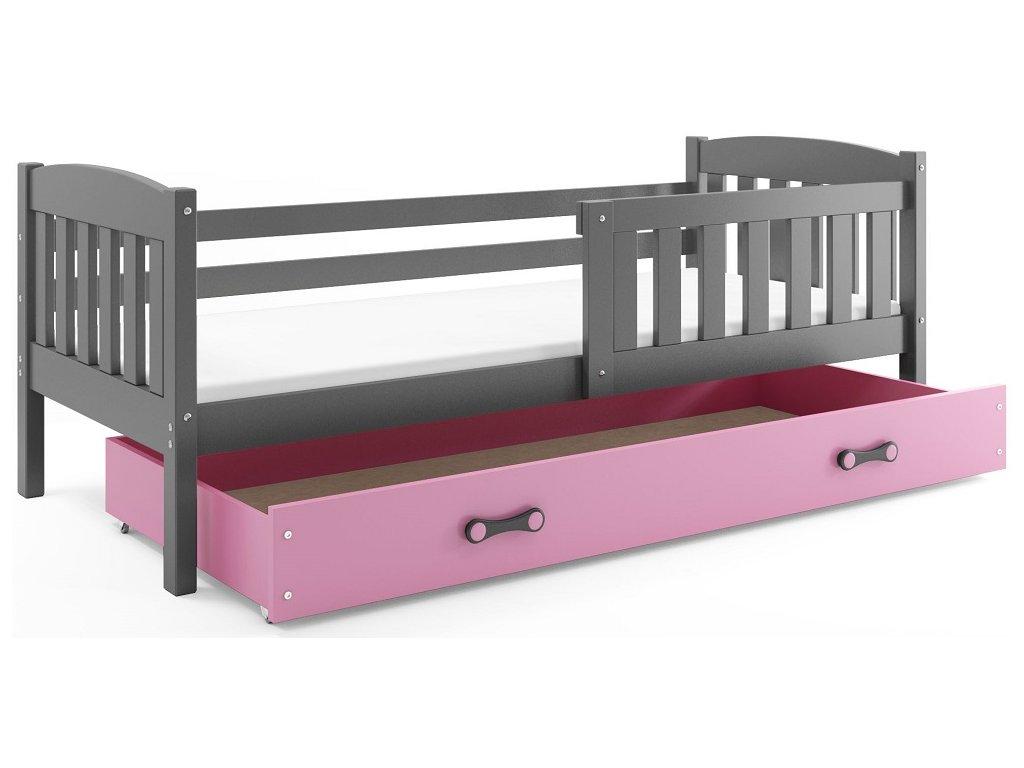 BMS group Detská posteľ KUBUŠ, 160 FARBA: Grafit, DOPLNKOVÁ FARBA: Ružová