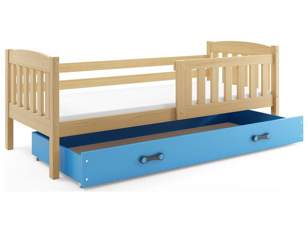 BMS group Detská posteľ KUBUŠ 200 FARBA: Borovica, DOPLNKOVÁ FARBA: Modrá