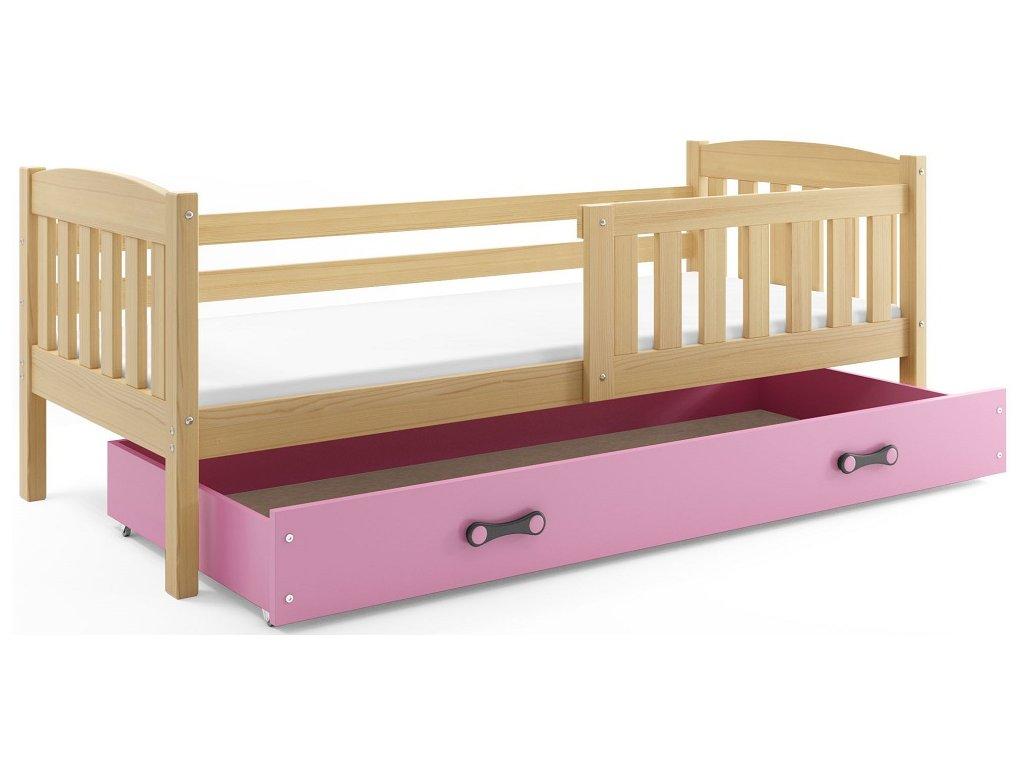 BMS group Detská posteľ KUBUŠ 200 FARBA: Borovica, DOPLNKOVÁ FARBA: Ružová