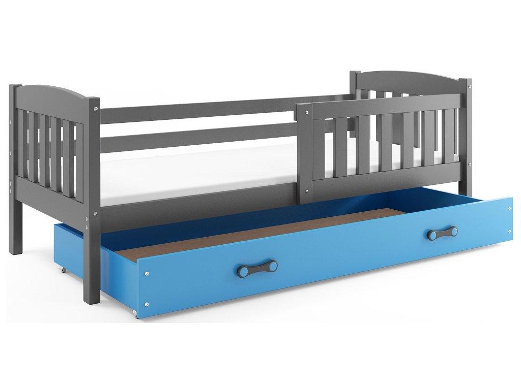 BMS group Detská posteľ KUBUŠ 200 FARBA: Grafit, DOPLNKOVÁ FARBA: Modrá