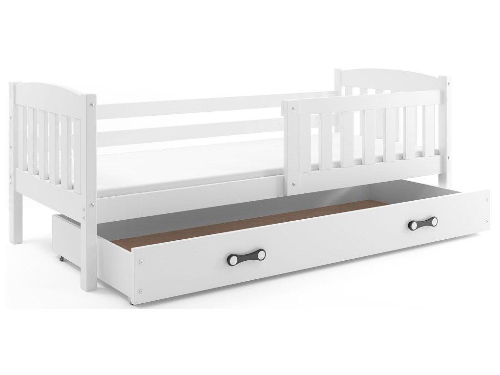 BMS group Detská posteľ KUBUŠ 200 FARBA: Biela, DOPLNKOVÁ FARBA: Biela