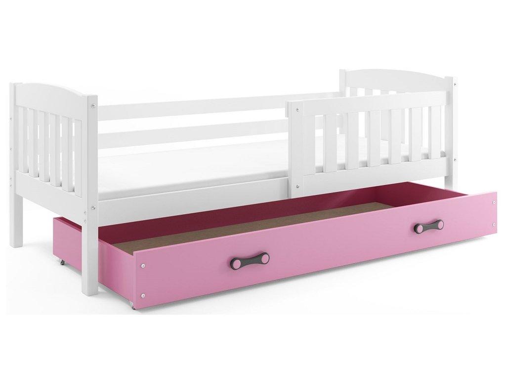 BMS group Detská posteľ KUBUŠ 200 FARBA: Biela, DOPLNKOVÁ FARBA: Ružová