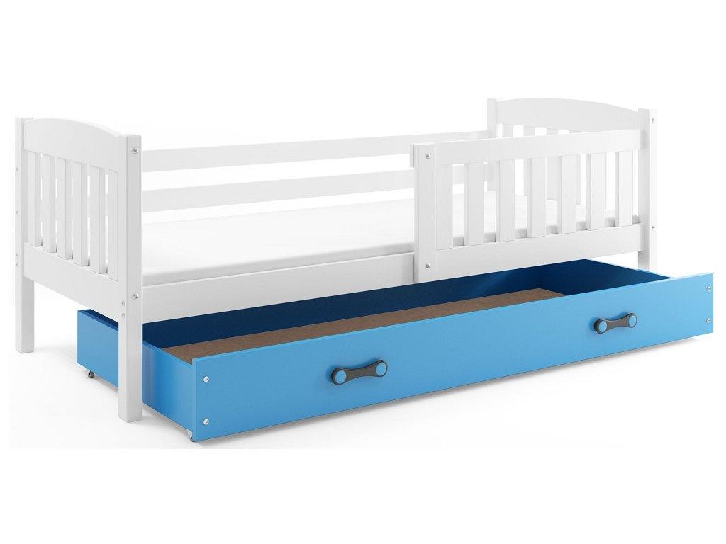 BMS group Detská posteľ KUBUŠ 200 FARBA: Biela, DOPLNKOVÁ FARBA: Modrá