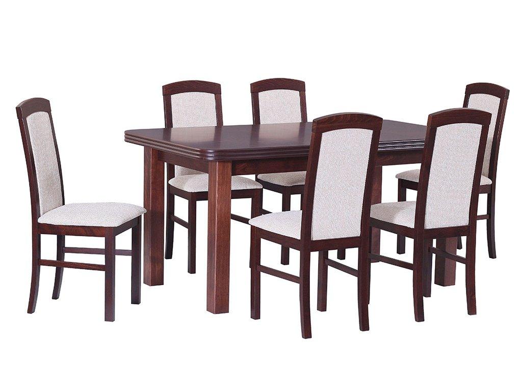 DREWMIX Jedálenský set - stôl WENUS V / stoličky NILO V (1+6)