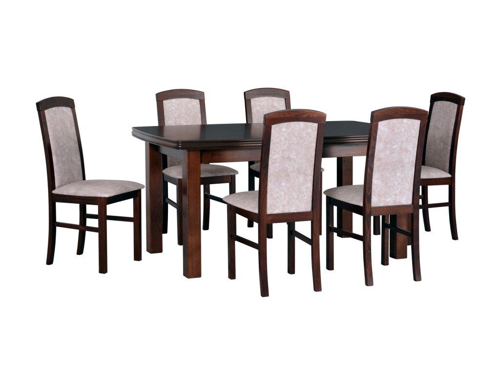 DREWMIX Jedálenský set - stôl KENT II / stoličky NILO V (1+6)