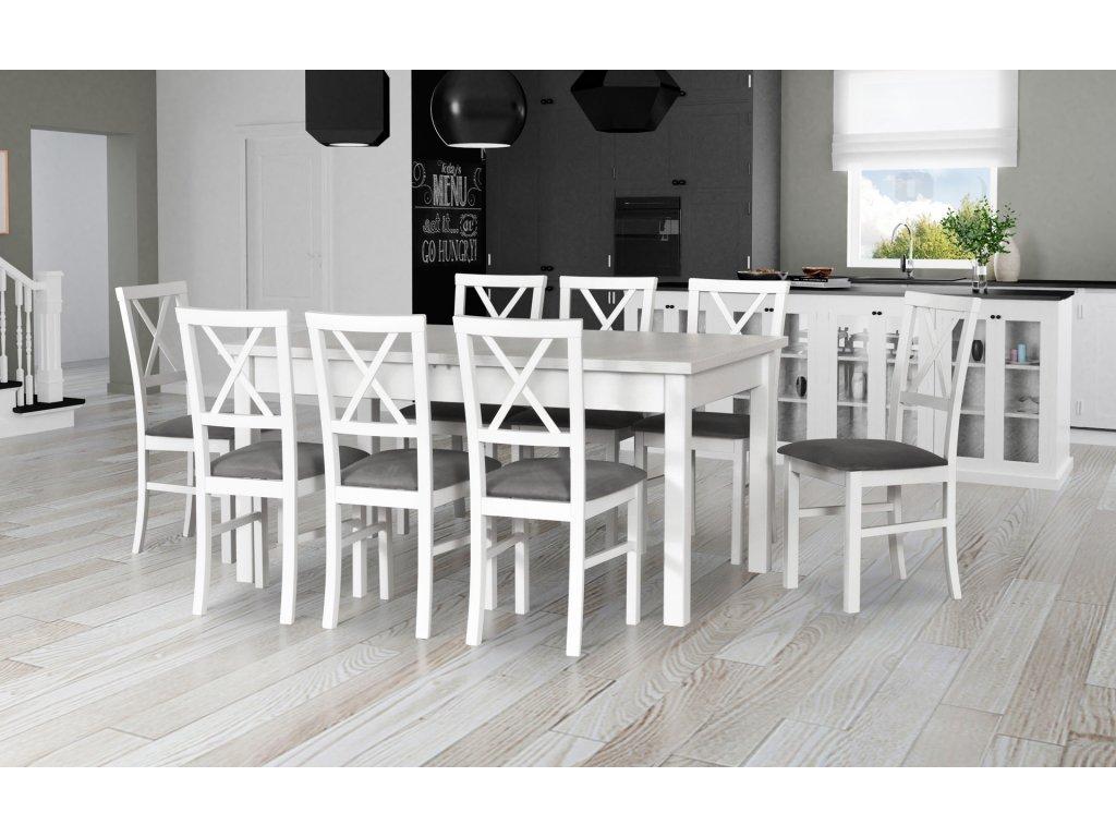 DREWMIX Jedálenský set - stôl MODENA II / stoličky MILANO IV (1+8) Drevo: Dub sonoma