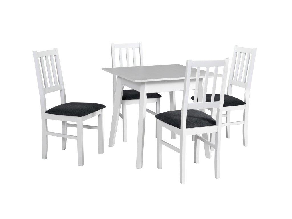 DREWMIX Jedálenský set - stôl OSLO 1 / stoličky BOSS IV (1+4) Drevo: Biela