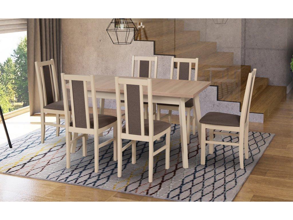 DREWMIX Jedálenský set - stôl OSLO 5 / stoličky BOSS XIV (1+6) Drevo: Biela