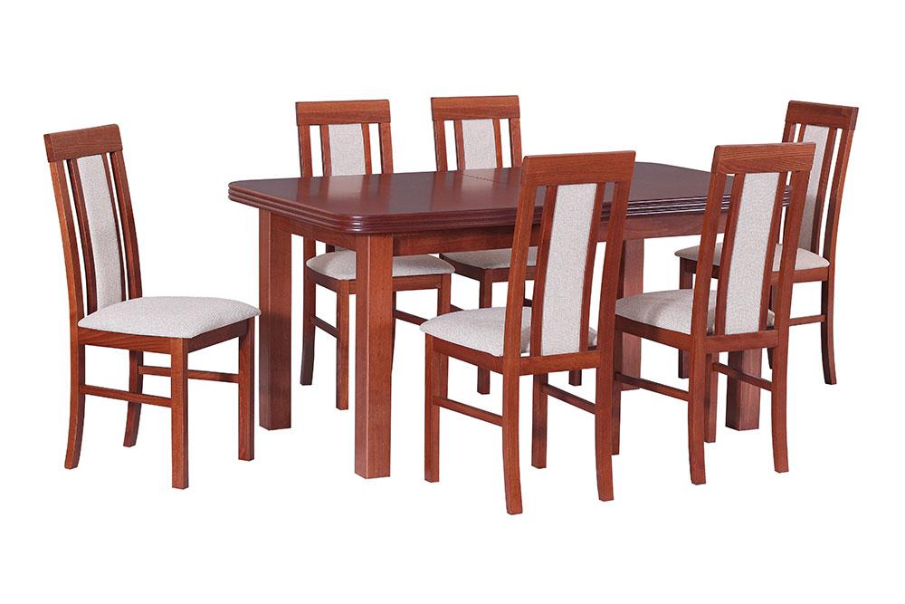 DREWMIX Jedálenský set - stôl WENUS V / stoličky NILO II (1+6) Farebné prevedenie: Jelša, FAREBNÉ PREVEDENIE POŤAHU: 15
