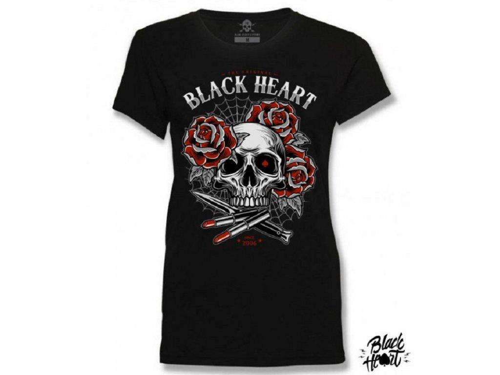 Dámské Triko BLACK HEART LIPSTICK SKULL